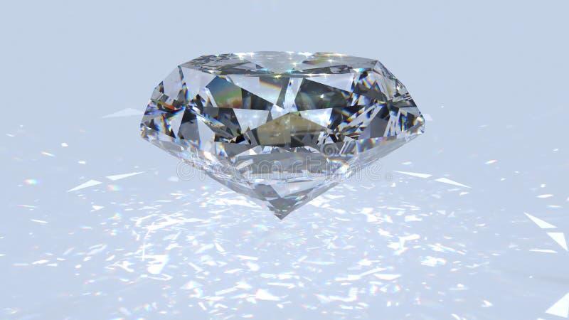 Metragem branca da dispersão do diamante Diamante extravagante da cor em um fundo branco ilustração royalty free