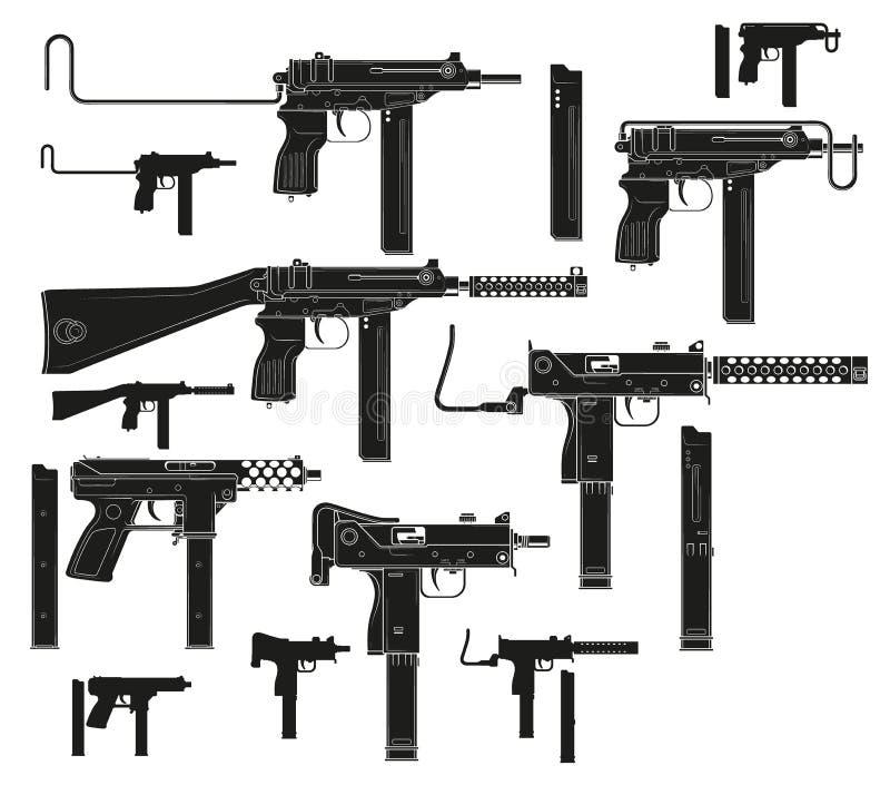 Metralhadoras modernas da silhueta gráfica ilustração stock