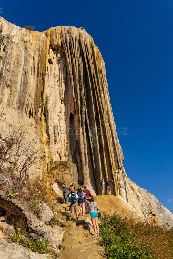 Random to petrified waterfalls at Hierve el Agua. At 1800 metres high, curious landscape made by salt water action on stone at Hierve el Agua, Mexico royalty free stock photo