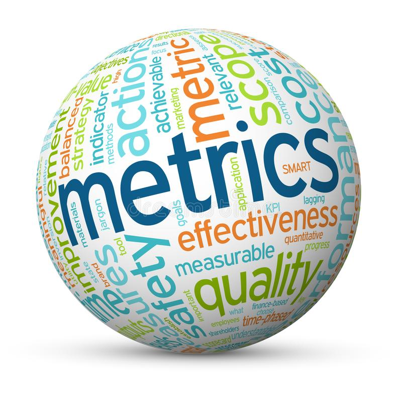 METRICS tag cloud mapped onto a sphere stock photos