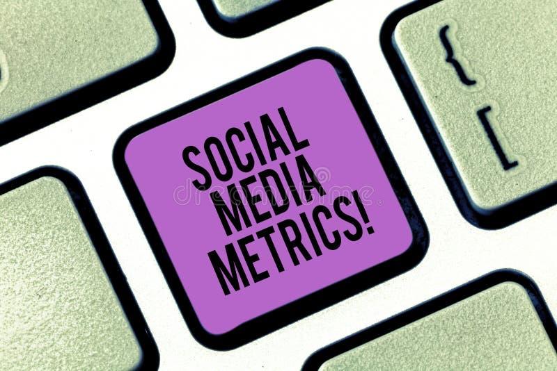 Metrik för massmedia för ordhandstiltext social Affärsidé för riktlinjer som bestämmer hur väl arbeta för aktionen royaltyfri fotografi