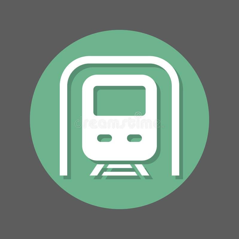 Metro, ícone liso do metro Botão colorido redondo, sinal circular do vetor com efeito de sombra Projeto liso do estilo ilustração do vetor
