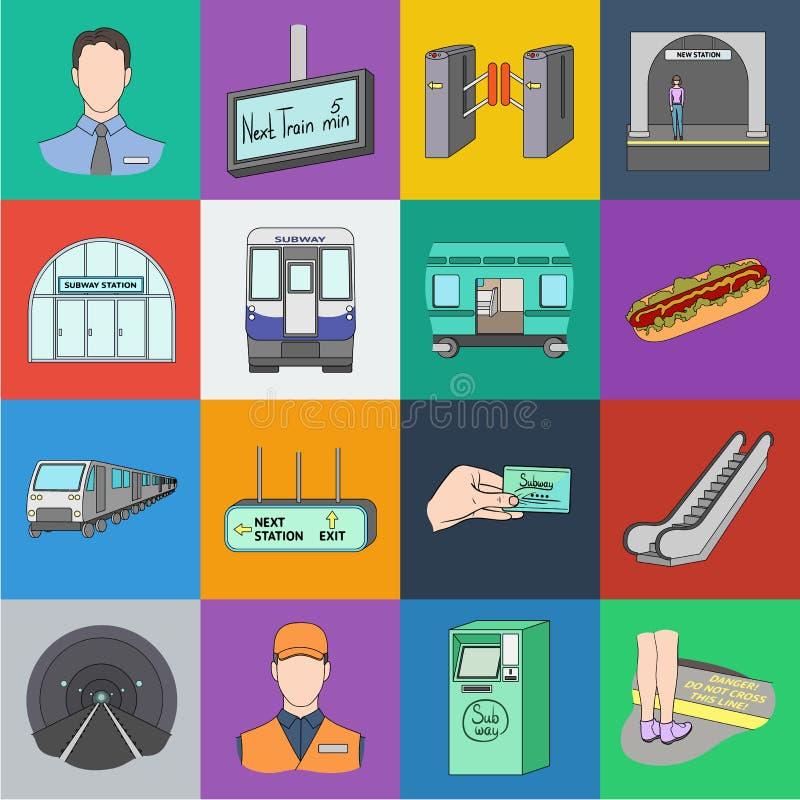 Metro, ícones dos desenhos animados do metro na coleção do grupo para o projeto Ilustração da Web do estoque do símbolo do vetor  ilustração royalty free