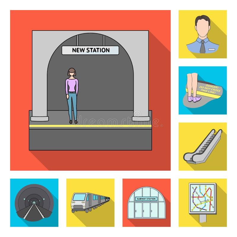 Metro, ícones lisos do metro na coleção do grupo para o projeto Ilustração da Web do estoque do símbolo do vetor do transporte ur ilustração royalty free