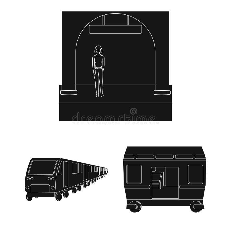 Metro, ícones pretos do metro na coleção do grupo para o projeto Ilustração da Web do estoque do símbolo do vetor do transporte u ilustração do vetor