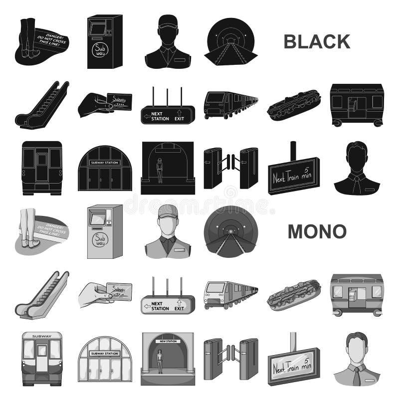 Metro, ícones pretos do metro na coleção do grupo para o projeto Ilustração da Web do estoque do símbolo do vetor do transporte u ilustração royalty free