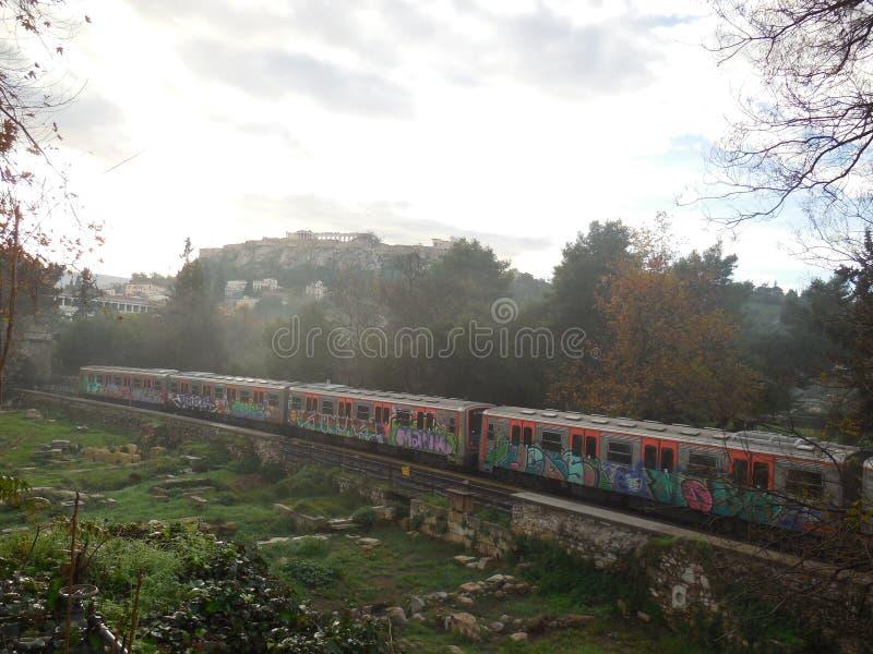 Metro Through Agora Athens. Metro through ancient Agora beneath Acropolis in Athens royalty free stock photos