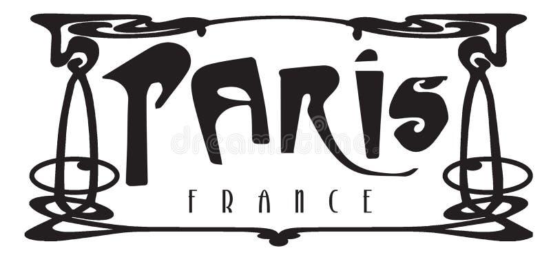 Metro Art Deco Logo Sign de Paris França ilustração stock