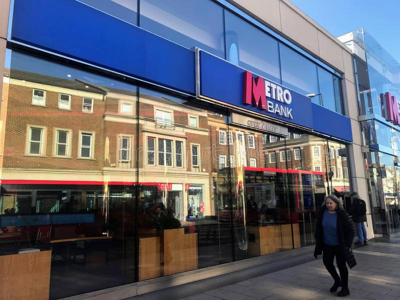 Metro Bank branch. Metro Bank plc is a retail bank operating in the United Kingdom, founded by Anthony Thomson and Vernon Hill in 2010. At its launch it was the stock images