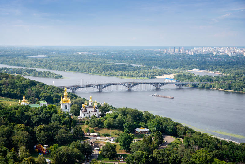 Metro bridge across the Dnieper stock images