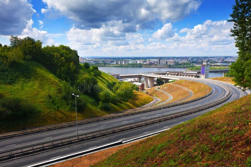 Metro Bridge through Oka River. View of Nizhny Novgorod. Metro Bridge through Oka River. Russia royalty free stock photography
