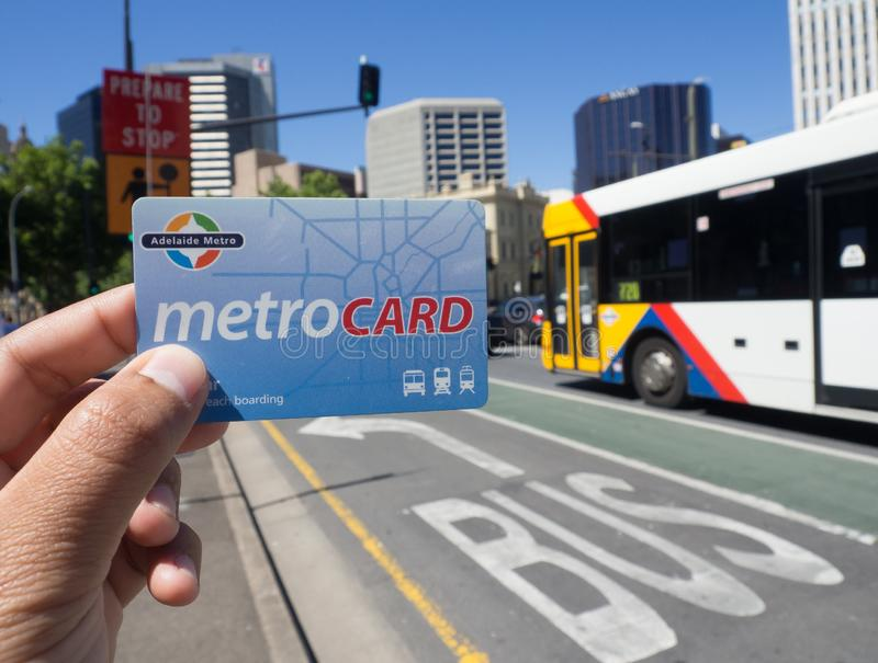 Metro card is a contactless smartcard ticketing system for public transport services in the greater Adelaide area. stock photography