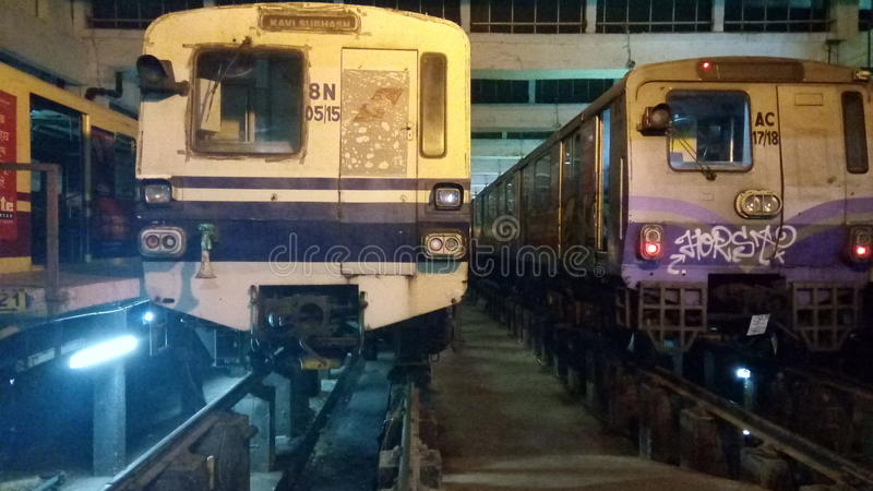 Metro carriage. These are kolkata metro railway carriages in noapara car shed for maintainance work. Both old andnew type of carriage wagon stock photography