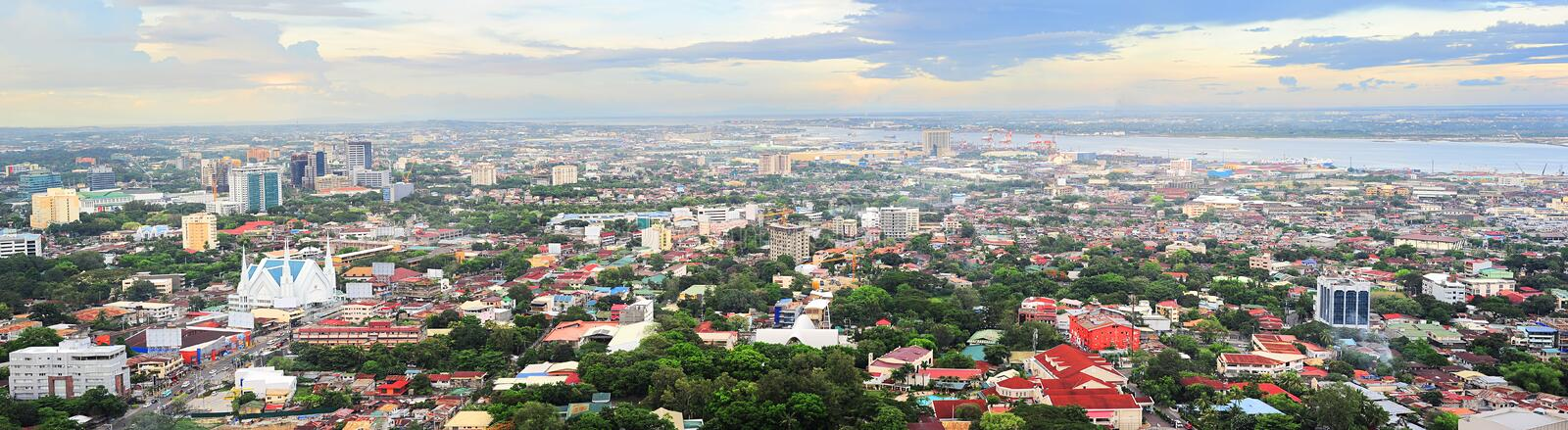 Metro Cebu at sunset. Panorama of Cebu city. Cebu is the Philippines second most significant metropolitan centre and main domestic shipping port royalty free stock images