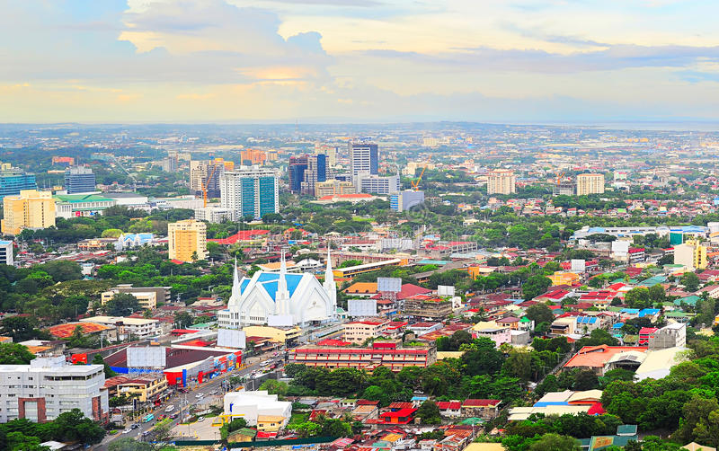 Metro Cebu at sunset. Panorama of Cebu city. Cebu is the Philippines second most significant metropolitan centre and main domestic shipping port royalty free stock image