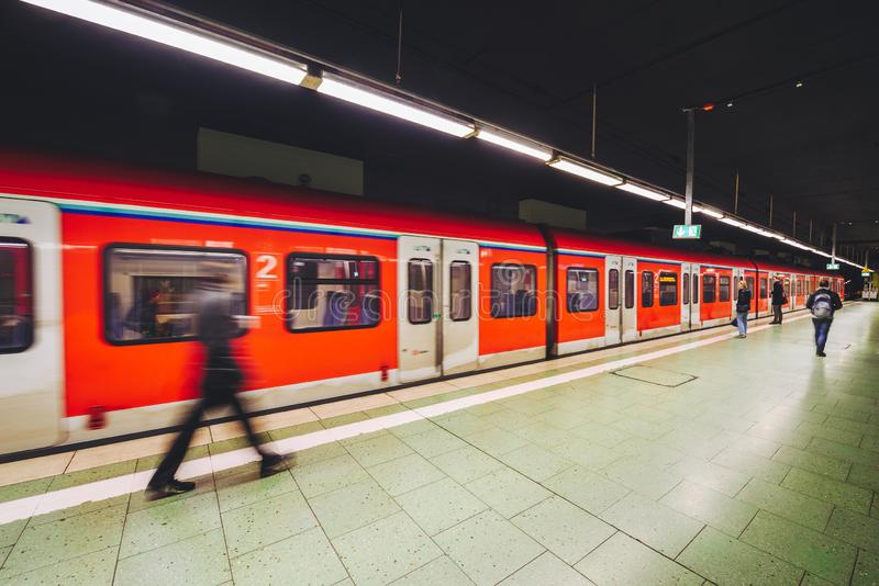 Metro chasing underground station, Frankfurt, Germany. FRANKFURT, GERMANY - OCTOBER 07, 2016: Metro chasing Frankfurt am Main Hbf station stock photography