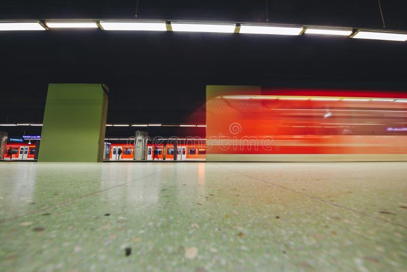Metro chasing underground station, Frankfurt, Germany. FRANKFURT, GERMANY - OCTOBER 07, 2016: Metro chasing Frankfurt am Main Hbf station stock image