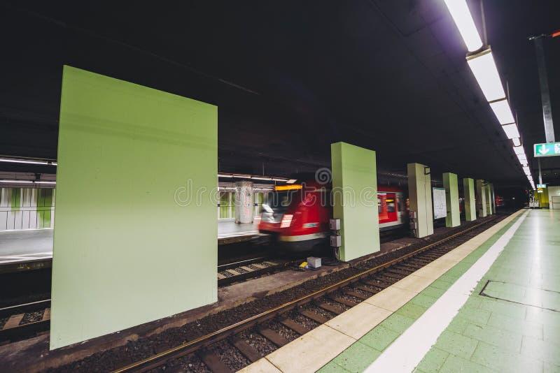 Metro chasing underground station, Frankfurt, Germany. FRANKFURT, GERMANY - OCTOBER 07, 2016: Metro chasing Frankfurt am Main Hbf station royalty free stock images