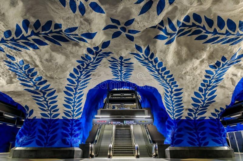 Metro de Éstocolmo ou estação central T-Centralen do tunnelbana com i imagens de stock royalty free