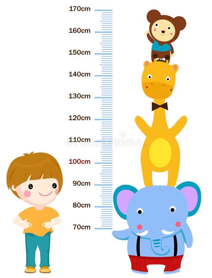 Metro de la altura de los niños stock de ilustración