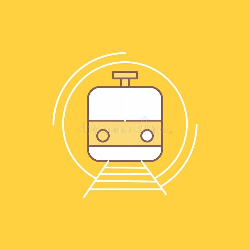 Metro, der Zug, intelligent, allgemein, Transport flache Linie füllte Ikone Sch?ner Logoknopf ?ber gelbem Hintergrund f?r UI und  lizenzfreie abbildung