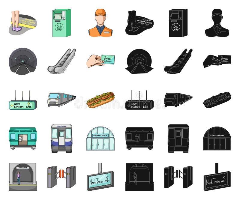 Metro, desenhos animados do metro, ícones pretos em coleção ajustada para o projeto Ilustração da Web do estoque do símbolo do ve ilustração royalty free