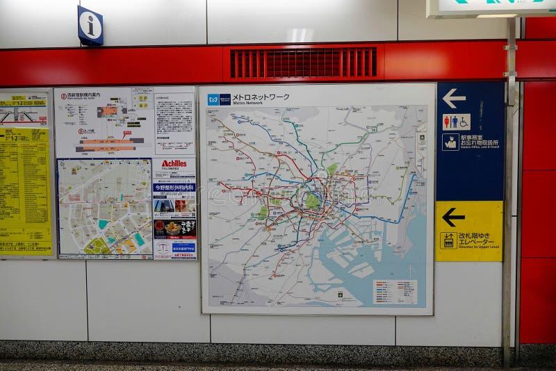 Metro do mapa no Tóquio, Japão imagem de stock