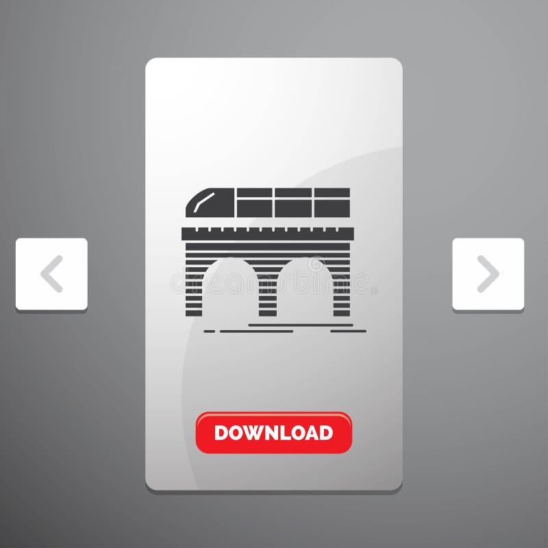 Metro, Eisenbahn, Eisenbahn, Zug, Transport Glyph-Ikone im Carousals-Paginierungs-Schieber-Entwurf u. roter Download-Knopf vektor abbildung