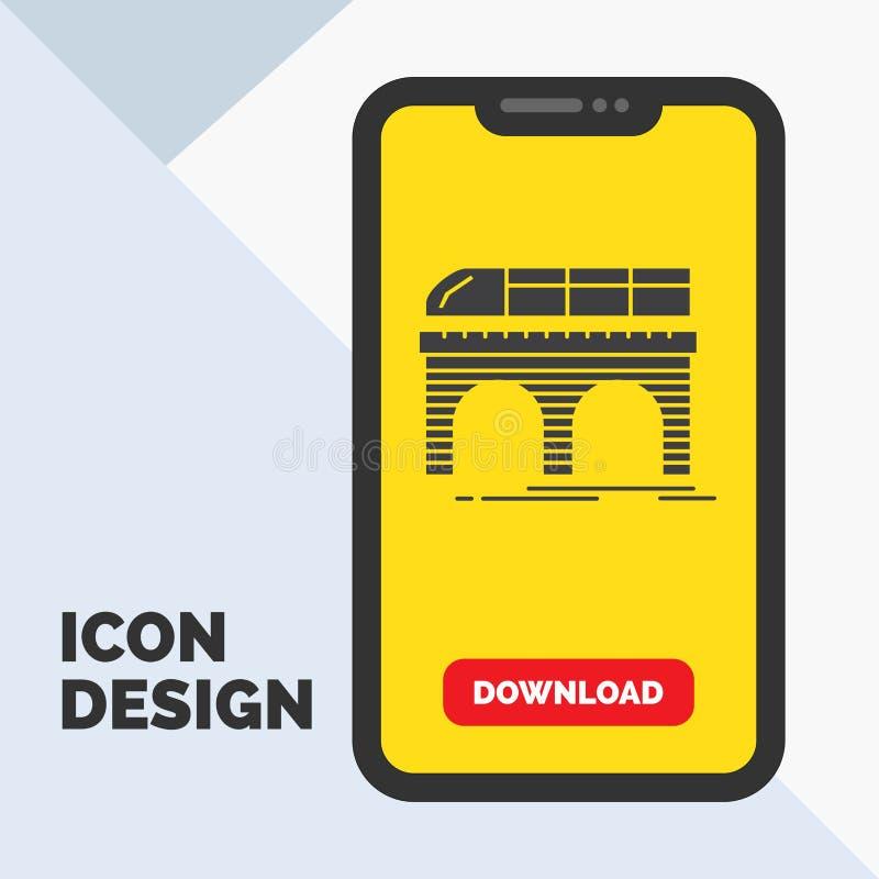 Metro, Eisenbahn, Eisenbahn, Zug, Transport Glyph-Ikone im Mobile für Download-Seite Gelber Hintergrund lizenzfreie abbildung