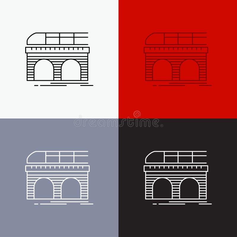 Metro, Eisenbahn, Eisenbahn, Zug, Transport Ikone über verschiedenem Hintergrund r ENV 10 stock abbildung
