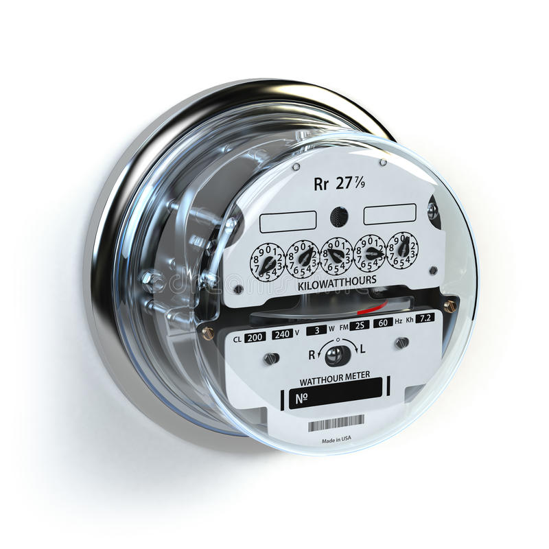 Metro eléctrico análogo en blanco Consumptio de la electricidad libre illustration