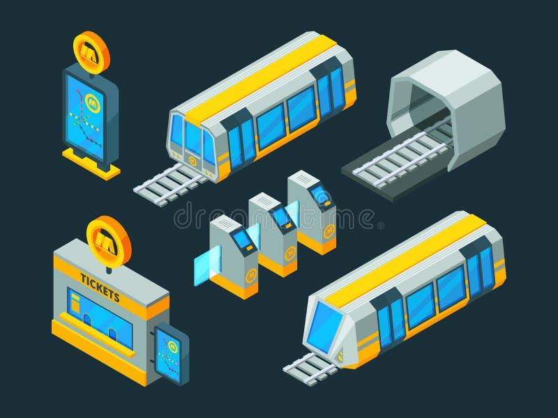 Metro elementy Taborowi eskalatoru i metra bramy wektorowi isometric niscy poli- 3d obrazki ilustracji
