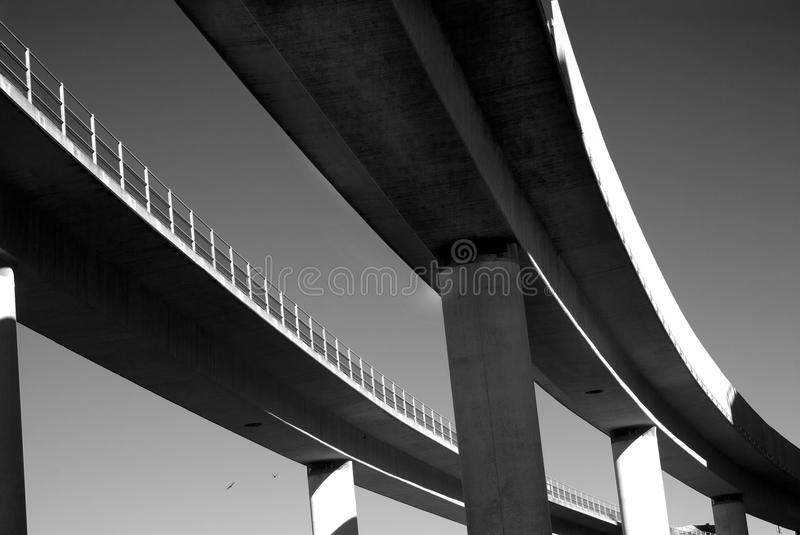 Metro. Elevated metro rails in Black & White stock images