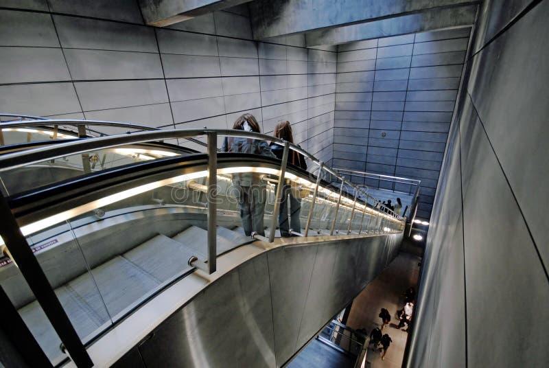 Metro escalators stock photography