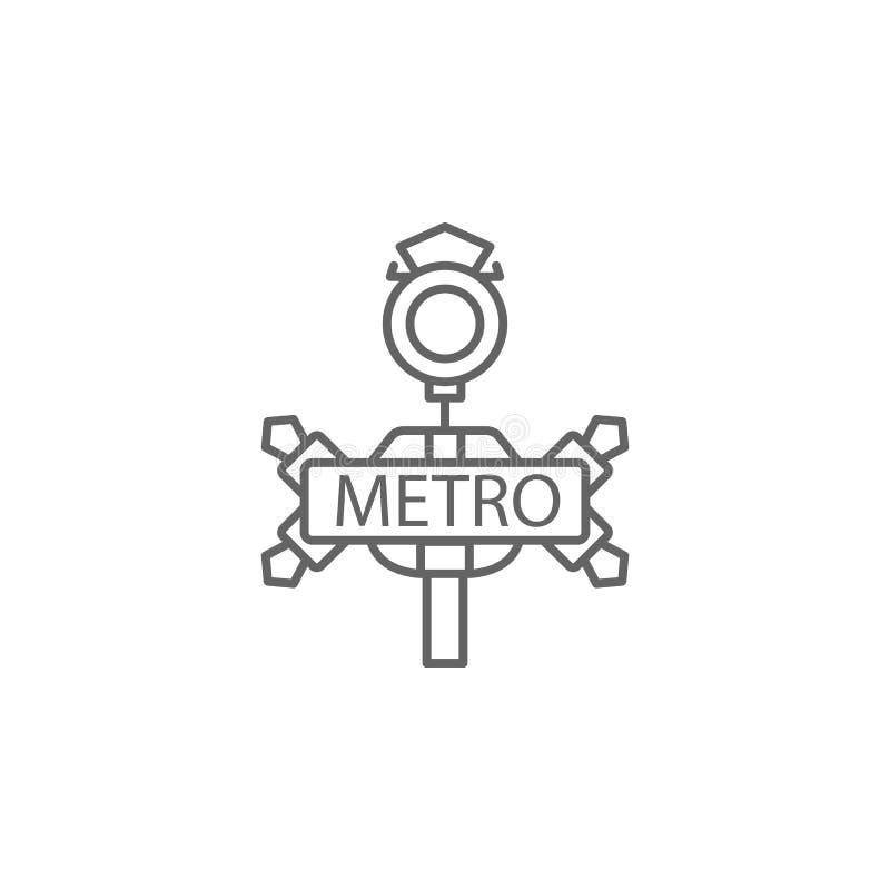 Metro, hell, Zeigerikone Element von Paris-Ikone D?nne Linie Ikone f?r Websitedesign und Entwicklung, APP-Entwicklung vektor abbildung
