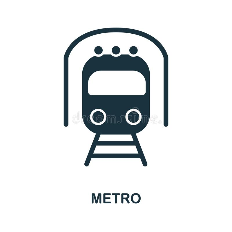 Metro icon in vector. Flat style icon design. Vector illustration of metro icon. Pictogram isolated on white. royalty free illustration