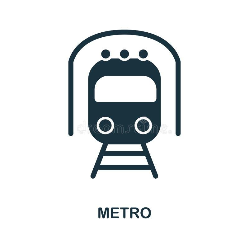 Metro ikona w wektorze Mieszkanie ikony stylowy projekt Wektorowa ilustracja metro ikona piktogram odizolowywający na bielu royalty ilustracja