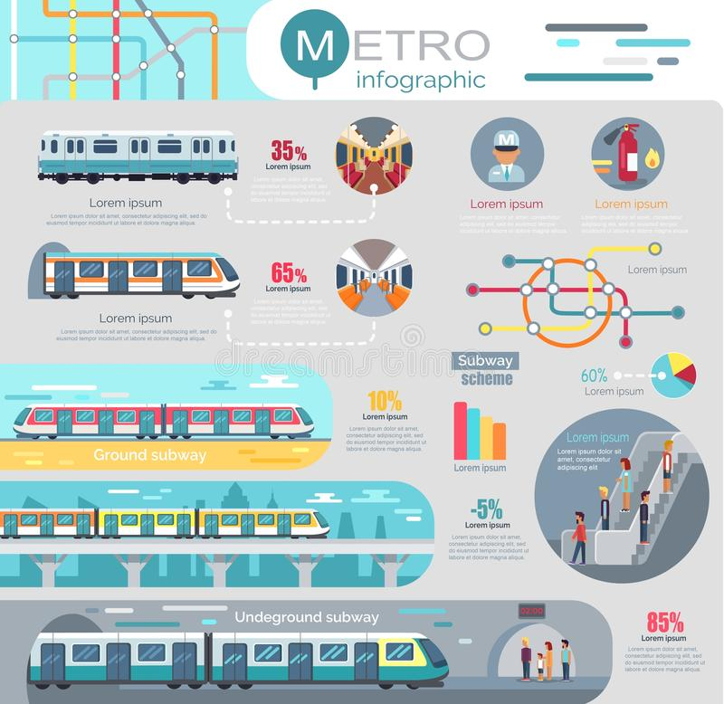 Metro Infographic with Statistics and Schemes stock illustration