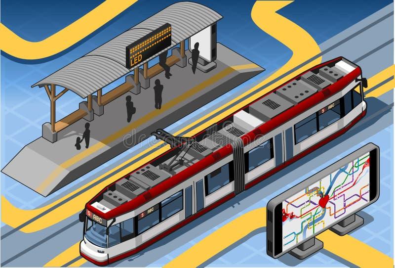 Metro isométrico perto do telhado da plataforma e do mapa subterrâneo ilustração stock