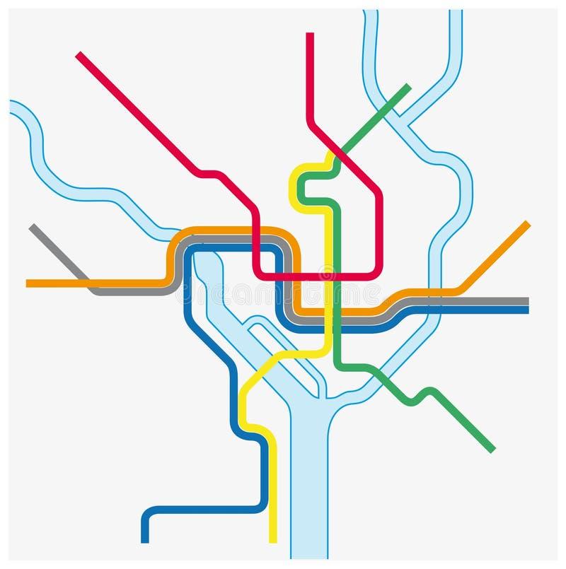 Metro kaart van Washington DC, Verenigde Staten royalty-vrije illustratie