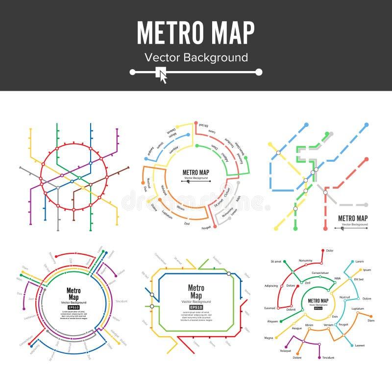 Metro-Karten-Vektor Planen Sie Entwurfsillustration der Kartenstationsmetros und der Untergrundbahnmetros Bunter Hintergrund mit lizenzfreie abbildung