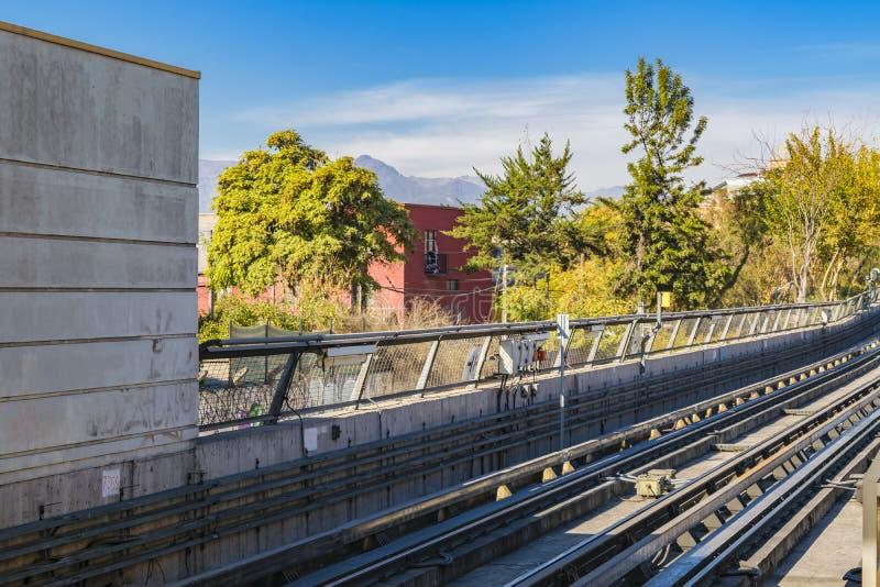 Metro Line Exterior, Santiago de Chile. Empty metro train railway exterior view at santiago de chile city, chile stock images