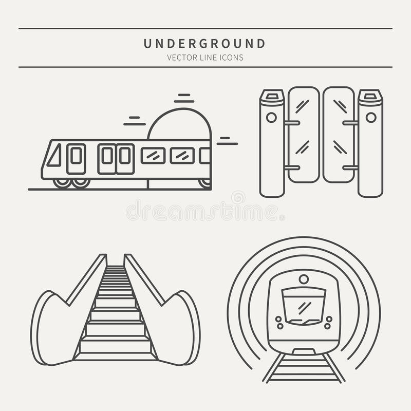 Metro linear vector icons. Vector subway icons and badge. Graphic design elements in outline style for packaging, apps, website, advertising, poster and brochure stock illustration