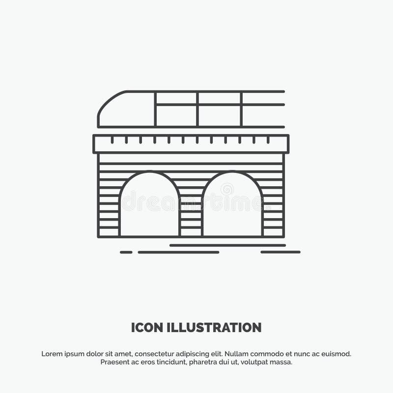 metro, linia kolejowa, kolej, poci?g, przewieziona ikona Kreskowy wektorowy szary symbol dla UI, UX, strona internetowa i wisz?ce royalty ilustracja