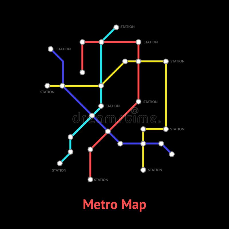 Subway Map Sign.Metro Map Sign Color Thin Line Card Vector Stock Vector