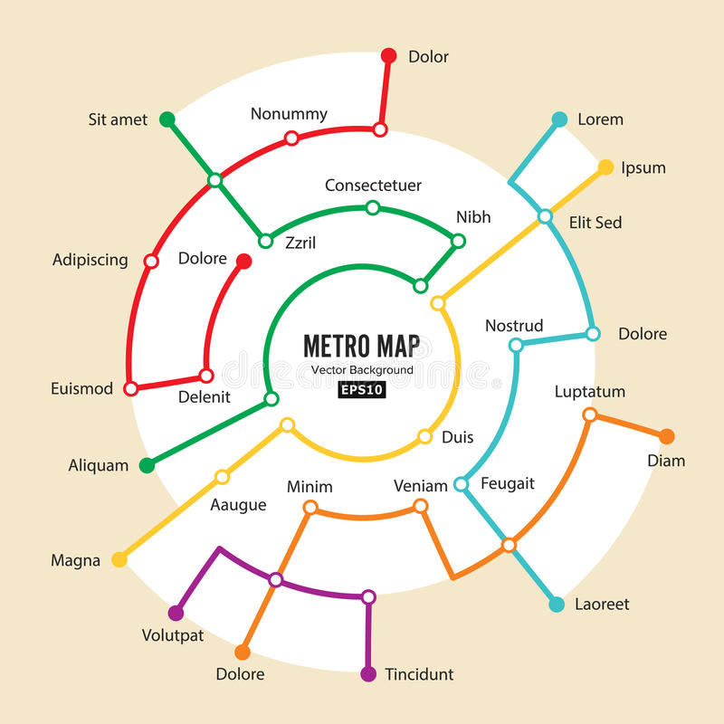 Metro Map Vector. Imaginary Underground Map. Colorful Background With Stations royalty free illustration