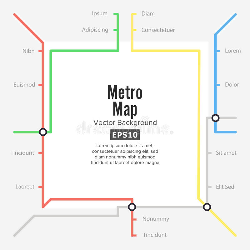 Metro Map Vector. Rapid Transit Illustration. Colorful Background With Stations.  royalty free illustration