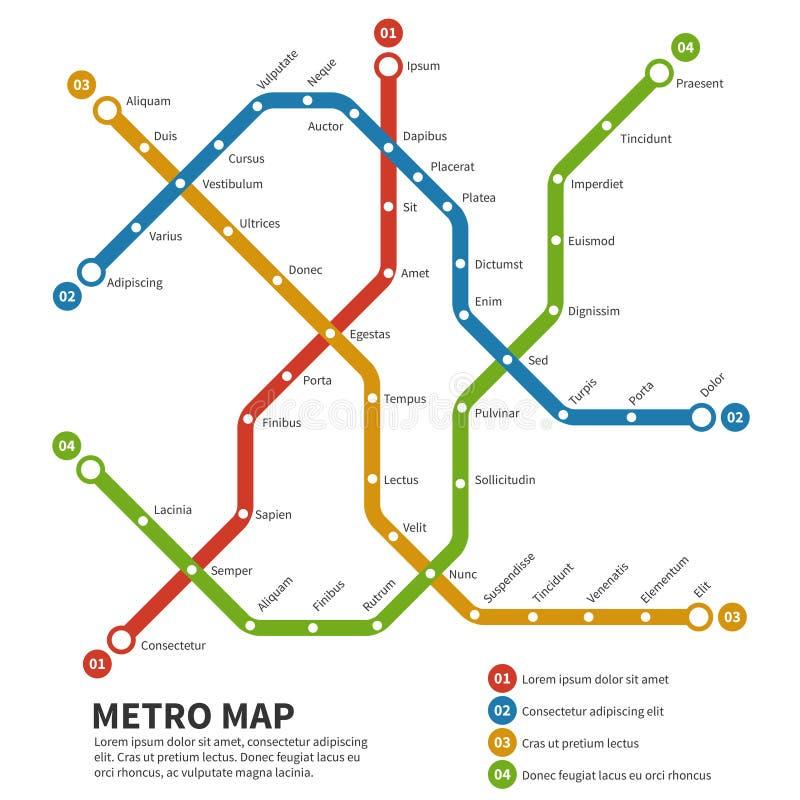Metro, mapa do vetor do metro Molde do esquema do transporte da cidade ilustração royalty free