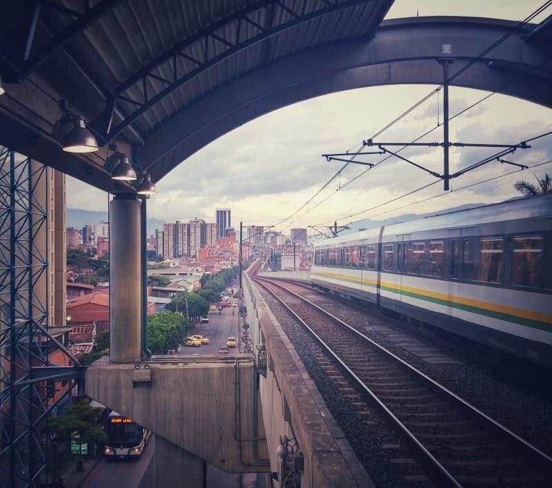 Metro of Medellin, Colombia. Metro of Medellin Hospital Station - Modern innovative development, urban railway transportation system located in Medellín royalty free stock images