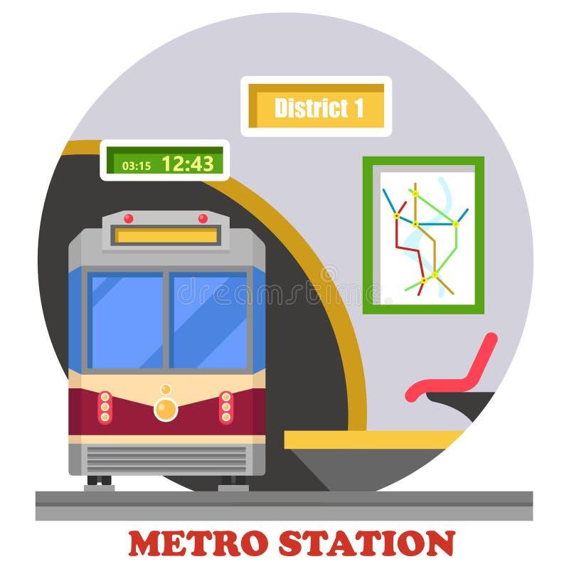 Metro, metro, błyskawiczny transport lub ciężki poręcz, ilustracja wektor